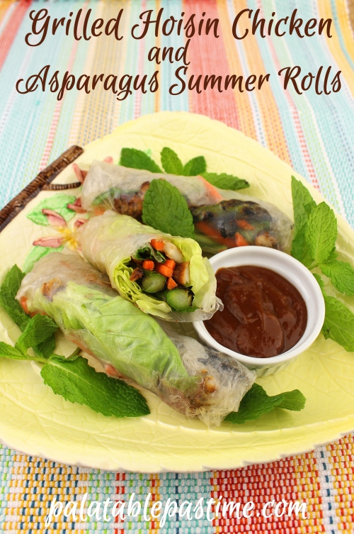 Grilled Hoisin Chicken and Asparagus Summer Rolls