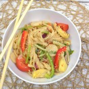 toss noodles with dressing