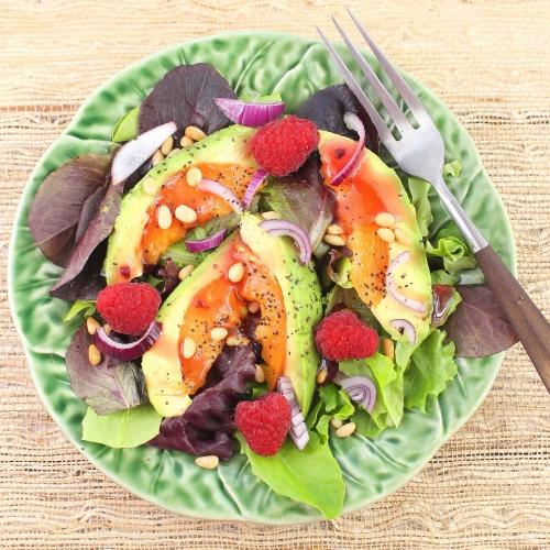 Avocot Salad with Raspberries