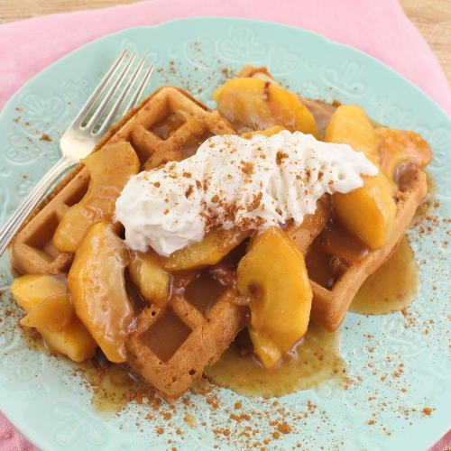 Cinnamon Horchata Waffles with Apple Topping